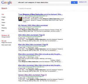 A screen shot of Google search results showing the same content in 7 results.