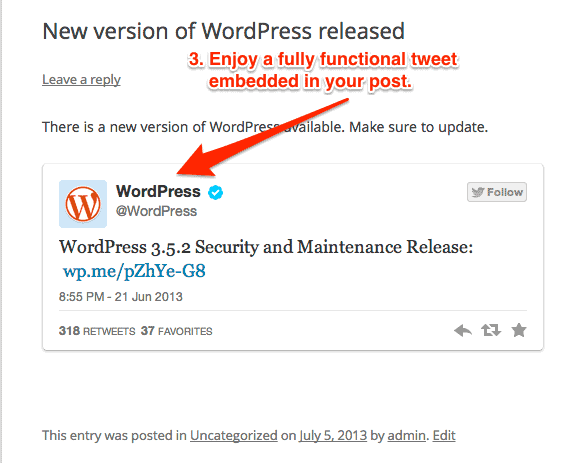 embed a tweet in a WordPress post